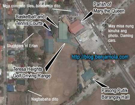 Parish of Mary the Queen, Pasong Putik Barangay Hall, Basketball and Tennis Courts, Teresa Heights Golf Driving Range, Mga concrete tiles binebenta dito. Skatepark ni Erlan, nagbabaha dito. May misa nung kinuha ang photo. Daming Cars.