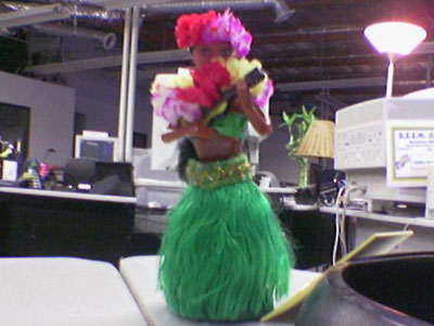 Justin Sepulveda's Hot Girl Hula Dancer on his Table